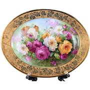 "18.7"" long Limoges hand painted tray/ platter with the roses, artist signed"