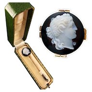 18k gold stick pin with a high relief carved cameo of Apollo, about 1870s