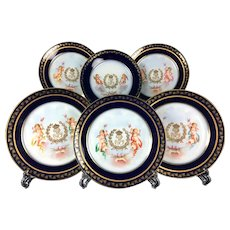 1846 French SEVRES Porcelain cobalt blue chargers/ plates with the hand-painted cherubs amidst clouds