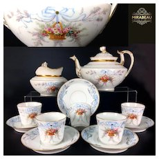 1862-1900 Limoges France Tea/ Coffee Set of 12-pieces with the hand-painted flowers