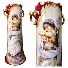 """15"""" tall Limoges France Hand Painted Twisted Handle Vase, 1900s"""