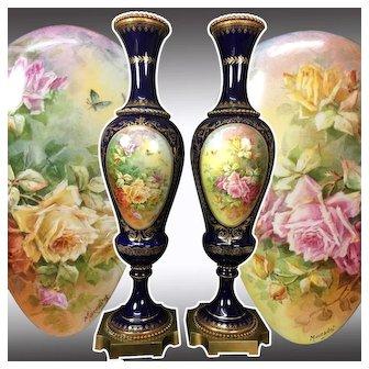 "20"" tall ~ Pair of Limoges France hand-painted cobalt blue vase, artist signed ""Marcedet"" 1920s"