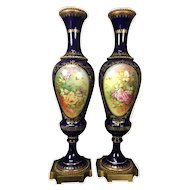 "20"" tall ~ Pair of Limoges France hand-painted cobalt blue vase, artist signed ""Marcedet"" 1920s"