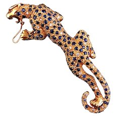 Large 18k gold sapphires and diamonds Leopard Pin/Brooch