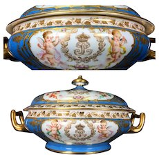 Rare 1846 French SEVRES Porcelain Covered Tureen with hand-painted cherubs amidst clouds