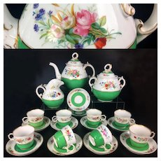 21 pieces French hand-painted flowers Limoges porcelain Tea & coffee Set in Sevres style, late 19th century