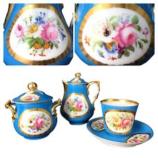 Antique French Hand-painted Tea/ coffee Set in style of Sevres porcelain, 1860-1880s