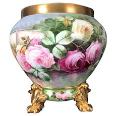 Large Limoges France Jardiniere with hand-painted colorful roses on separate base with claw feet, 1900-1914