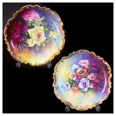 Ornate pair of 12.6'' Limoges France chargers with hand-painted roses and corn poppy, heavy golden border, 1909-1938