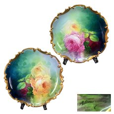 """""""A. Bronssillon"""" signed, Pair of hand-painted roses Limoges France porcelain chargers, 1890s -1920s"""