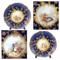 Pair of large Limoges France porcelain hand-painted cobalt blue chargers,  golden raised gilt, artist signed, 1876-1915