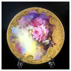 Limoges France porcelain hand-painted roses charger, raised gold gilt, 1892- 1907