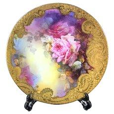 Limoges France porcelain hand-painted roses charger, raised gold gilt, 1892- 1907