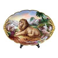 """53.5cm/ 21"""" huge Limoges France porcelain hand-painted lion tray, 1890-1932"""