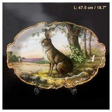 """47.5cm/ 18.7"""" huge Limoges France porcelain hand-painted rabbit tray, 1909-1938"""