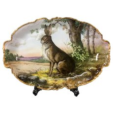"47.5cm/ 18.7"" huge Limoges France porcelain hand-painted rabbit tray, 1909-1938"