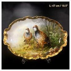 """47 cm/ 18.5"""" huge Limoges France porcelain hand-painted birds tray, after 1924"""