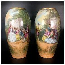 """Dubois"" signed pair of hand-painted Limoges porcelain vase, after 1891"
