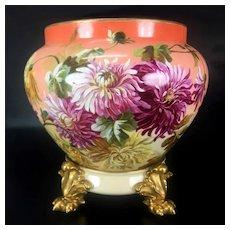 Limoges France porcelain hand-painted Chrysanthemums jardiniere on separate base, 1894 - 1900