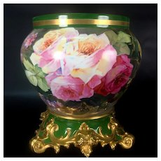 "12.6"" tall Large Limoges France Jardiniere / cache-pot with hand painted colorful roses on separate base, artist signed, 1892-1907"