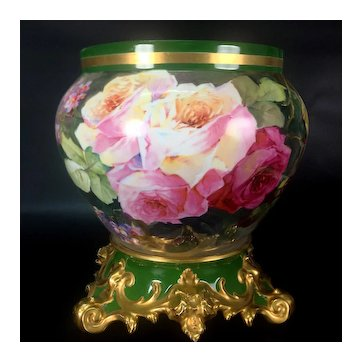 """12.6"""" tall Large Limoges France Jardiniere / cache-pot with hand painted colorful roses on separate base, artist signed, 1892-1907"""