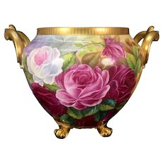 Large Limoges France hand-painted roses and mums jardiniere, artist signed, 1922