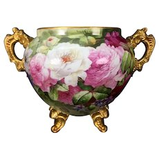 Outstanding Footed Limoges France hand-painted Jardiniere with gold loop handles, roses and chrysanthemum, 1894-1900