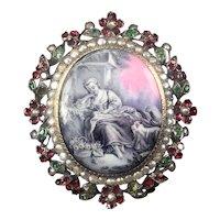 "Antique French Pearls & Garnets & Emeralds Brooch, Enamel Miniature Portrait, ""Shepherdess"" after Titian, silver & 18k gold pin, 1850s"