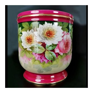 Limoges France antique hand-painted roses jardiniere, 1903-1919