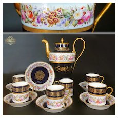 1844 SEVRES France porcelain hand-painted flowers Tea/ coffee Set of 13 pieces, cobalt blue & gold, with Sèvres marks 1844-1846