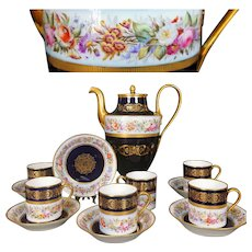 1844 SEVRES France porcelain hand-painted flowers Tea/ coffee Set of 13 pieces, cobalt blue & gold, with Sèvres marks 1844-1846
