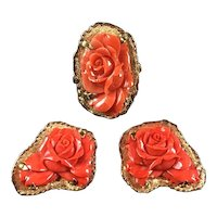 30g Large parure carved red coral rose 18k gold earrings and ring