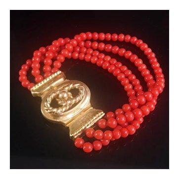 29.2g antique 18k Gold 4 strands coral bead bracelet 1880s