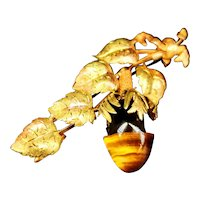 Antique French 18k gold and Tiger's Eye acorn and leaf brooch