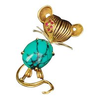 1960s Little Mouse Brooch Pin 18K Turquoise and ruby, in Cartier's style