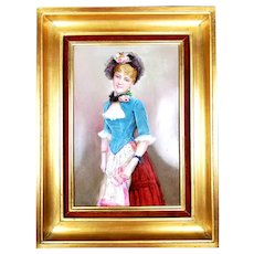 Large France hand-painted wall plaque/ painting on porcelain framed, 1900/ 20s