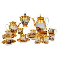 Antique French Old Paris Porcelain Hand-painted Tea/ coffee Set of 25 pieces, c 1860s-1880s