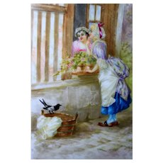 """Limoges France Hand-painted Porcelain plate/ plaque, depicting """" Being talkative as a magpie"""", artist signed, 1896-1905"""
