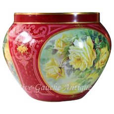 huge Limoges France jardiniere/ cache-pot with hand-painted yellow roses on three sides, artist signed, 1892- 1907