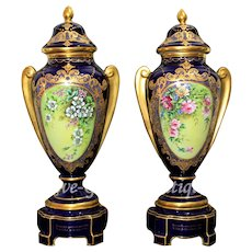 20'' tall Museum quality pair of Limoges France cobalt blue hand-painted urns/ vases, artist signed, heavy gold gilt, pieces made to order, 1950s