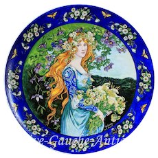 """17.5"""" exquisite Antique France hand painted plat/ plaque in porcelain, artist signed and after Elisabeth SONREL, 1900s, in the Age of Art Nouveau"""