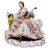 German Lace Porcelain Figurine of Woman,  from late 19th to early 20th century