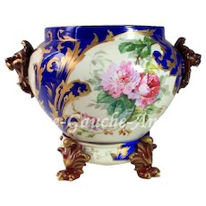 Huge Limoges hand-painted Jardiniere/cache-pot with lion-head handles on separate base, Paw/Claw Feet, ca 1894 to 1900