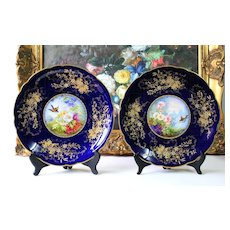 "Rare pair of hand painted Limoges chargers/ plates, Gold Encrusted Raised Gilt Cobalt Blue charger, artist signed ""L. Golse"","