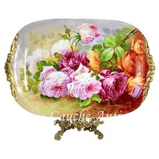 """21"""" huge Limoges hand painted tray/ platter with the roses, artist signed """"Luc"""", ca 1890-1932"""