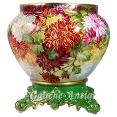 Huge Limoges Jardiniere/cache-pot with hand painted colorful Chrysanthemums on separate base, 1892-1907