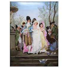 """Large Antique France Hand-painted Plaque/ painting on porcelain, """"Wonderful Marriage"""", artist signed """"A. CHEVRIER"""", dated on the 5 February 1878, 13"""" L x 9.5"""" W"""