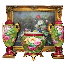 "Limoges France Hand-painted Porcelain Mantelpiece of one Jardiniere and two Vases/ urns, artist signed "" Gandois. M"", 1914-- 1930s and after"