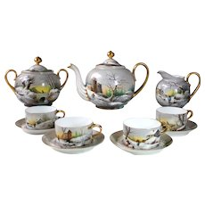 Antique French Limoges Hand-painted Tea Set of 11 pieces, c 1882-1890