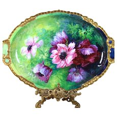 18.5'' huge Limoges France hand painted tray/ platter, ca 1890-1932